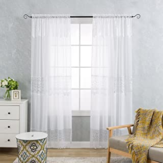 jinchan White Lace Sheer Curtains 84 Inch Long with Attached Valance for Bedroom, Rod Pocket Mix and Match Tulle Sheer Lace Curtain Set (Set of 2, 52