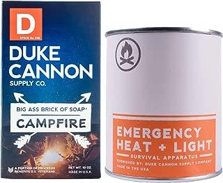 Duke Cannon Great American Frontier Men's Gift Bundle Set - Campfire: Emergency Heat + Light Candle, 13.5oz + Big Brick of Soap, 10oz