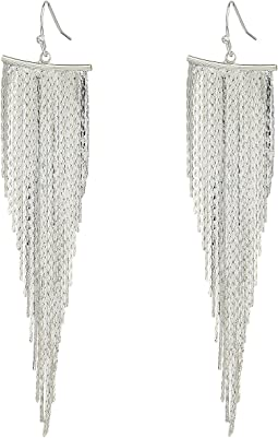 Kenneth Jay Lane Polished Silver Fringe Fishhook Earrings