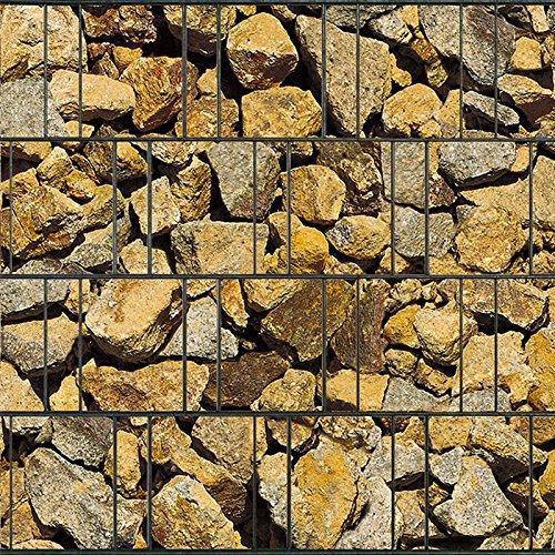 Bedruckter Sichtschutzstreifen für Doppelstabmatten Zaun auf Rolle inkl. 25 Klemmschienen (Korfu)