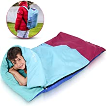 Abco Tech Kids or Children's Junior Sleeping Bags – Polyester Ultralight Sleeping Bag for Camping & Hiking – Withstands Extreme Temp. of 32-60°F – Includes Backpack for Storage & Carrying