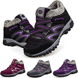 Camfosy Womens Snow Boots Winter Warm Fur Lined Hiking Boots Lace up Llightweight Outdoor Trekking Walking Sneakers Trainers Anti-Slip Shoes Balck Grey