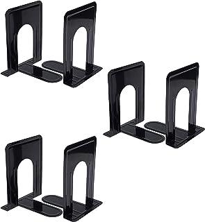 Bokstöd (3 par) – (11 x 12,6 x 16,8 cm) bokstoppar för hyllor – bokstöd i metall för barn, kontor, skolor, vardagsrum, bar...