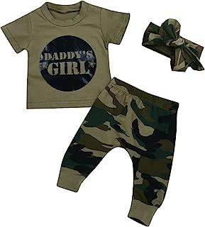 Kashoer 3Pcs Daddy's Baby Boy Girls Letters Print T-Shirt Top+Long Camouflage Pant+Headband Bodysuit