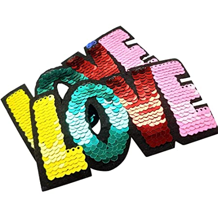 PP Patch Good Vibes Bolt Word Quote Sequins Glitter Twinkling Sparkling Cartoon Patch for Bags Jacket T-Shirt Embroidered Sign Badge Costume DIY Applique Iron on Patch