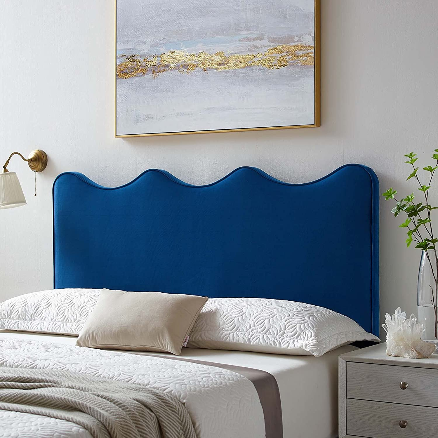 Modway Athena Performance Velvet Navy in It is very Max 60% OFF popular Headboard Twin