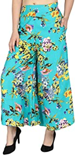 Fraulein Women's/Girls Palazzos Green Leaves Floral Printed Soft Crepe Flared Bottom Trendy and Stylish Palazzos with One ...