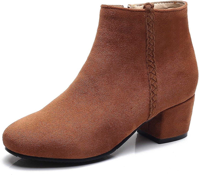 DecoStain Women's Chunky Block Heel Ankle High Zipper Booties