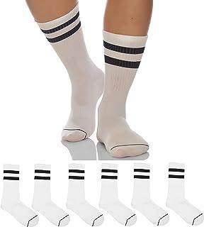Sockyfy Socks for Men Minimalist Collection Dress Socks - Pack of 6 - White Socks with Black Stripes in Gift Box|Christmas...