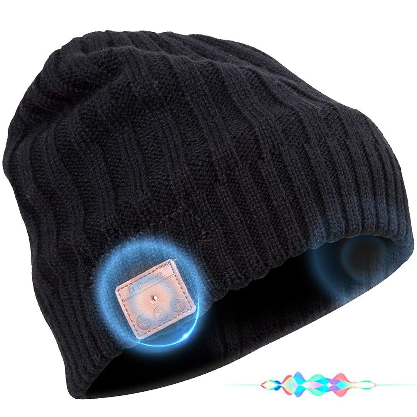 コート入浴素子Bluetooth ビーニーハット ワイヤレスヘッドホン ヘッドセット スピーカー マイク ハンズフリー バレンタインデー 冬 アウトドア スポーツ スキー スノーボード ジョギング ブラック