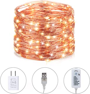 40FT 120LEDs Fairy String Lights, USB Plug in Firefly Christmas Lights with 8 Modes for Indoor Bedroom Wedding Party Costume Festival Decoration,Warm White