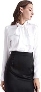 Bow-tie Neck Silk Blouse for Women Long Sleeve Ladies Tops Buttons VintageReal Silk Shirts