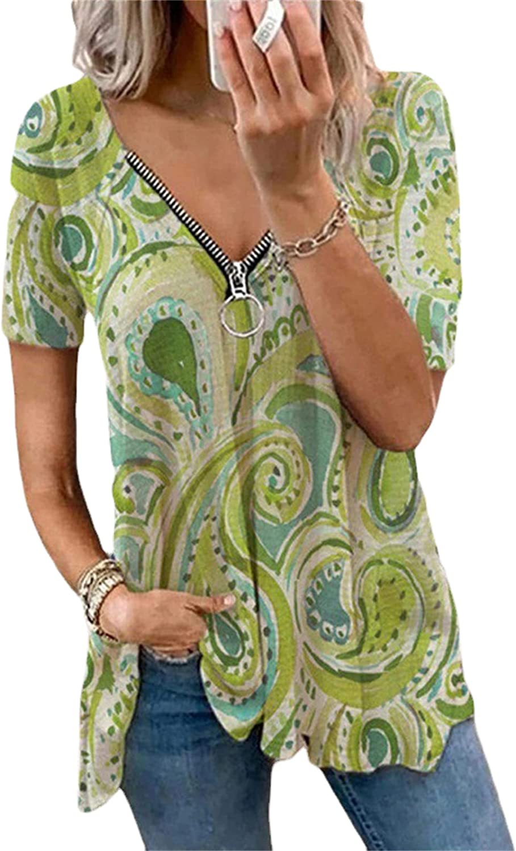 Andongnywell Women's Floral Print V Neck Zipper Decor Peasant Swing Tunic Tops Shirts Blouses Tunics