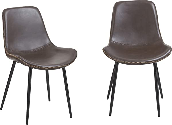 BTEXPERT 5088 2 Vintage Brown Upholstery PU Leatherette Dining Chairs Rustic Set Of 2