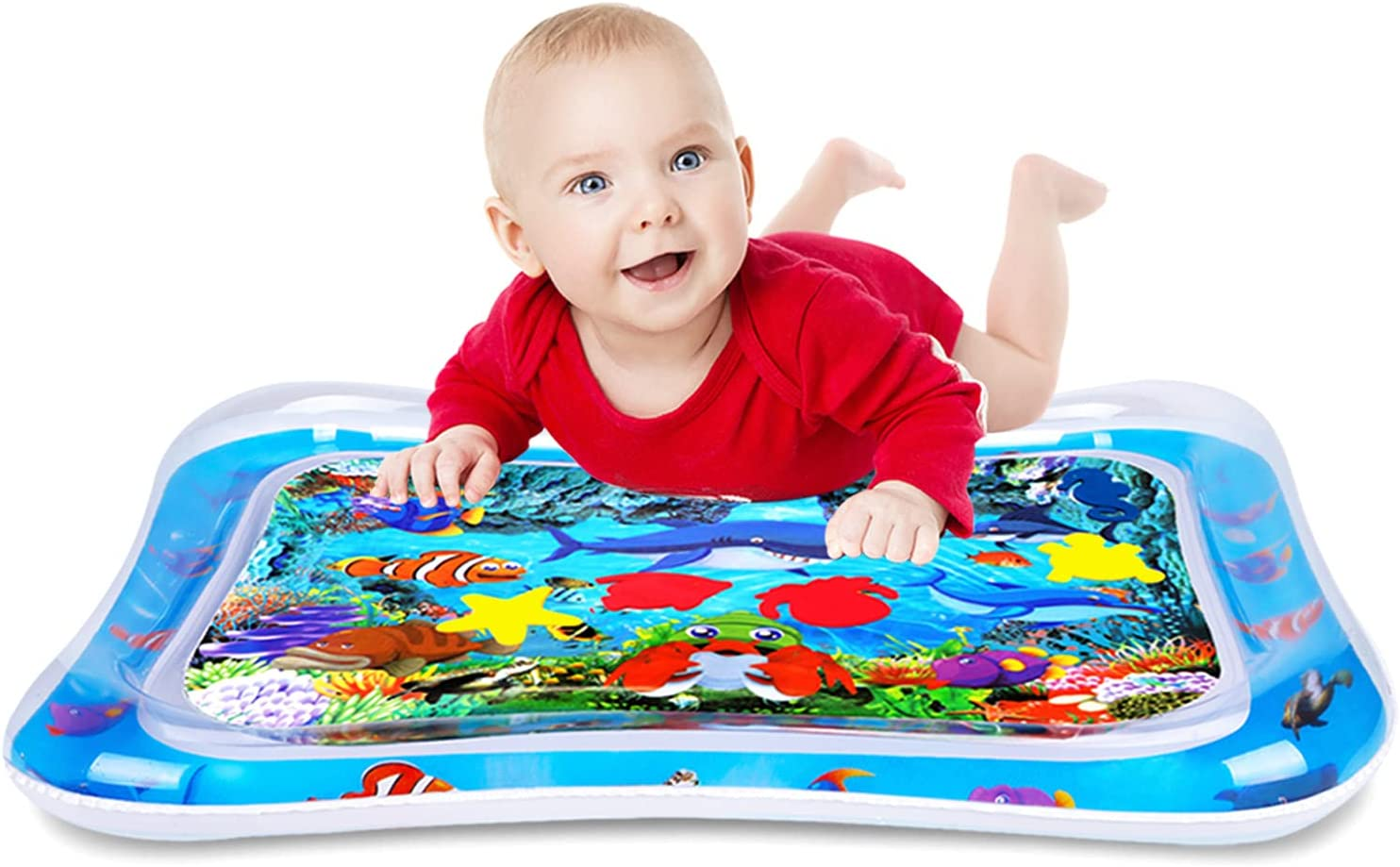 WSPER Tummy Time Water Mat Inflatable Baby Water Play mat for 3+ Months Newborn Girl & Boy Early Activity Center