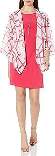 Tiana B Women's Printed Chiffon Mock Jacket Dress with Necklace