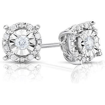 NATALIA DRAKE Diamond Halo Stud Earrings for Women in Sterling Silver (Color I-J/Clarity I2-I3)