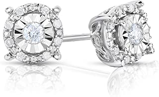 Sterling Silver Best Selling Halo Diamond Earrings 1/4ctw Princess, Round or Heart (Round White Diamond)