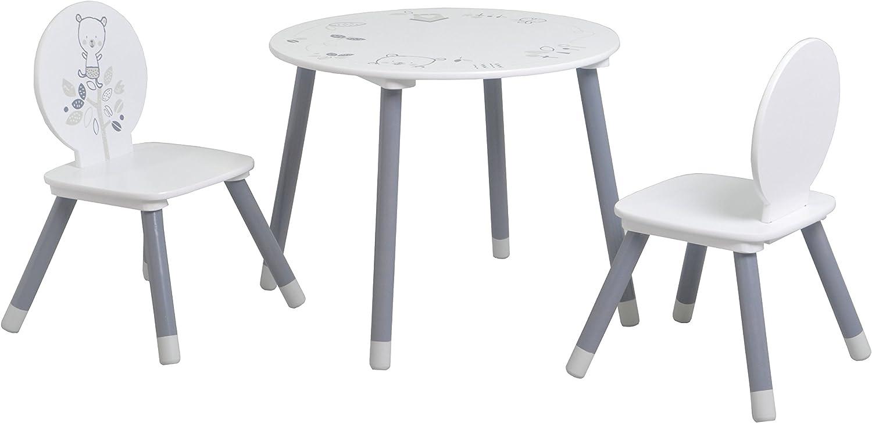 Demeyere 138551 Set mit 1 Tisch, 2 Stühlen MDF und Kiefer, weiss, 60 x 60 x 50 cm