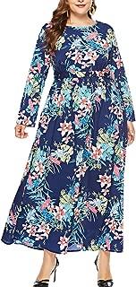 Eternatastic Women's Maxi Dress Floral Printed Long Sleeve Plus Size Dress Black