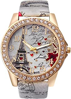 Hessimy Womens Fashion Watches New Ladies Business Bracelet Watch Luxury Crystal Sport Casual Leather Band Retro