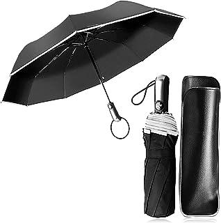 Paraguas Compacto y Resistente al Viento, Paraguas Plegable Paraguas Automático con Apertura y Cierre Automático, Paraguas de Viaje y Rayas Reflectantes Nocturnas JAANY