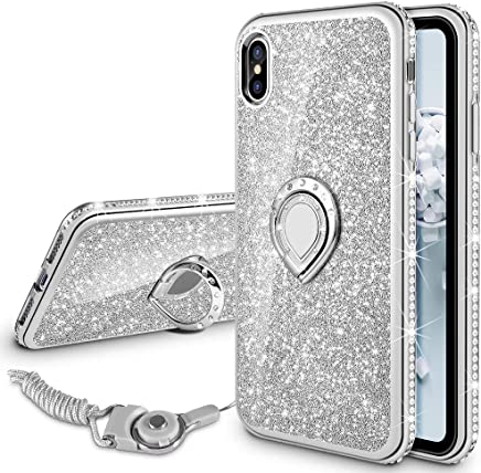 VEGO Case for Apple iPhone Xs iPhone X 5.8 inch,Glitter Case Bling Diamond Rhinestone with Kickstand Ring Grip Girls Women Case for iPhone Xs(Silver 5.8in)