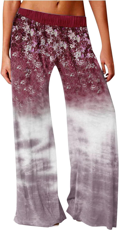 LEIYAN Womens Gradient Linen Pants Casual High Waist Wide Leg Pajamas Comfy Baggy Printed Beach Hippie Swim Trousers