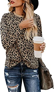 Exlura Women's Casual Leopard Print Shirts Round Neck Tunic Tops Long Sleeve Blouse