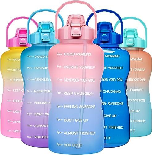 Venture Pal Large 1 Gallon/128oz Motivational Water Bottle with Time Marker & Straw,Leakproof Tritan BPA Free Water J...