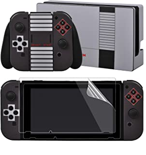 eXtremeRate Full Set Faceplate Skin Decal Stickers for Nintendo Switch/NS with 2Pcs Screen Protector (Console & Joy-con & Dock & Grip)- 8-bit NES Style