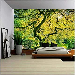 wall26 - Amazing Green Japanese Maple Tree, Nature Garden - Removable Wall Mural | Self-Adhesive Large Wallpaper - 66x96 inches
