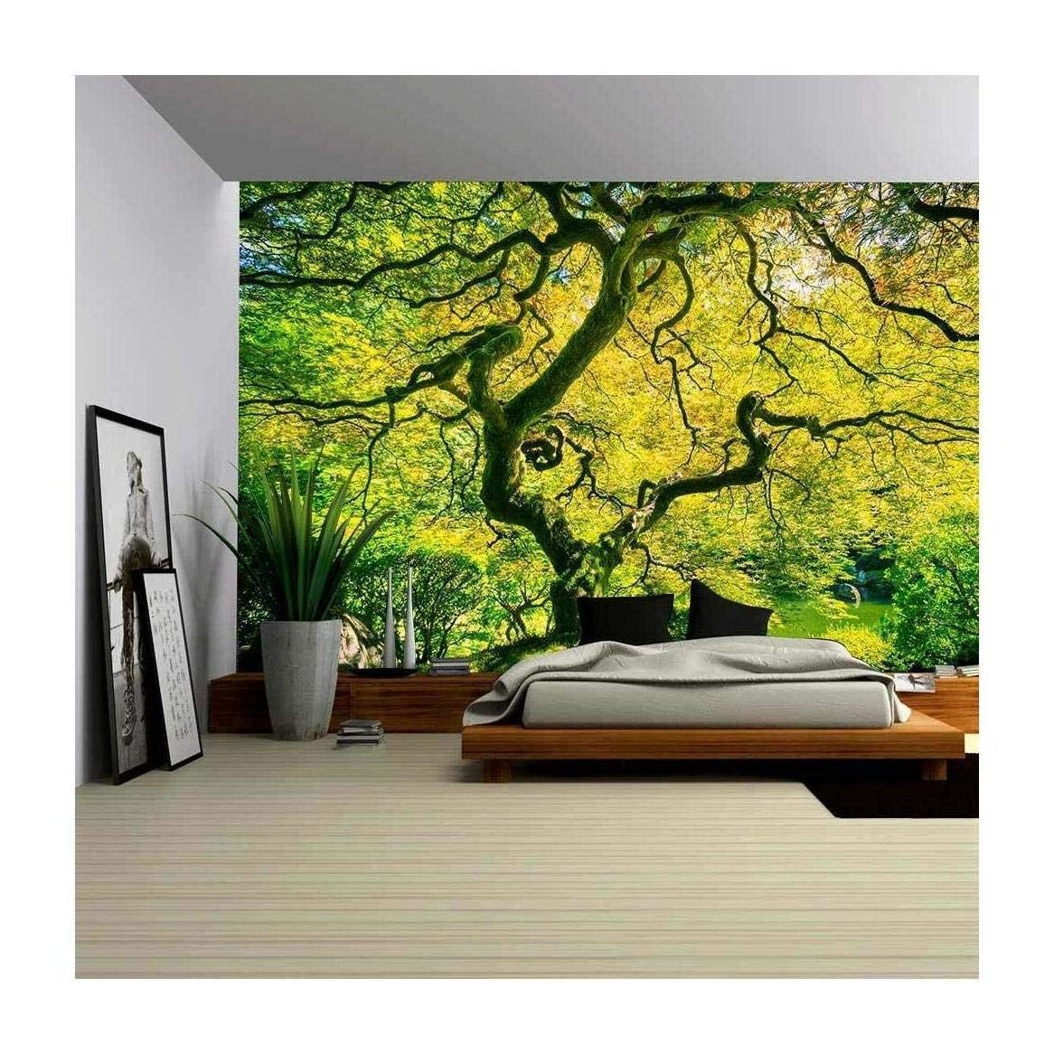 nature wall murals amazon comwall26 amazing green japanese maple tree, nature garden removable wall mural self