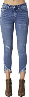 Women's Mid Rise Medium Wash Distressed Skinny Jeans with Frayed Tulip Hems