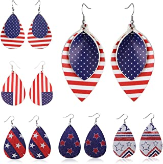 American Flag Faux Leather Earrings, Women Girls Teardrop Leaf Petal Dangle Earrings, Double Sided USA Flag Statement Drop Earrings Lightweight, 4th of July Patriotic Jewelry Clothing Accessory Decors