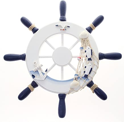 """Nautical Wooden Ship Wheel 12"""" Pirate Décor- Ships Wheel for Home, Boats, and Wall Hanging Decorative Boat Accessory for Bedroom/Kids Room/Bathroom/Guest Room - Helm Steering"""