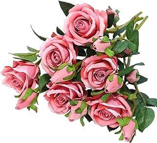 Hawesome 6 rosas artificiales, ramo de rosas de franela, decoración de boda, centros de mesa, decoración para el hogar, fiesta, decoración de flores, rojo, blanco, rosa, 18 rosas