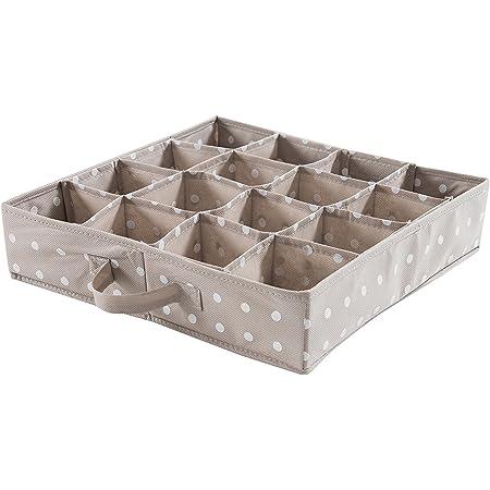 Compactor Rivoli Organizer per cassetti, 16 Scomparti, Per biancheria intima e accessori, Polipropilene, Marrone, 40 x 40 x H. 9 cm, RAN4402B