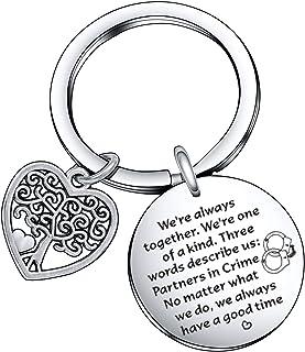 Partners in Crime Gift for Best Friend Jewelry, BFF Keychain Friendship Jewelry Christmas Gift Birthday Jewelry Handcuff Keychain