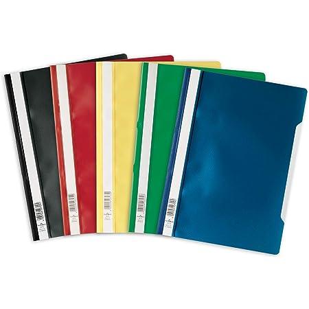 Durable 252300 Lot de 25 Chemise à lamelles format A4 couverture transparente dos opaque Couleurs Assorties