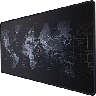 Extended Gaming Mouse Pad XXL, Inphic Large Keyboard Mousepad Map Word Mat Nonslip with Anti-Fray Cloth Water-Resistant, Comfort Textured for Gamer  Desk  Desktop  PC  Work  Office&Home- 35.4x15.7in