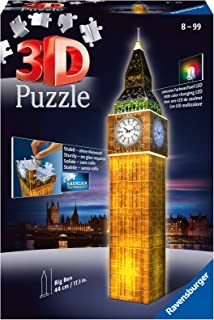 Ravensburger 12588 - 3D Pussel byggnader med ljus Big Ben London - 216 bitar - tredimensionell bygglädje & inget lim behöv...