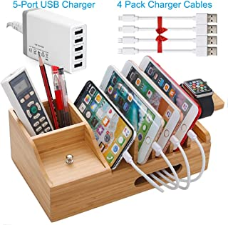 Bamboo USB Charging Stations Organizer for Multiiple Devices with 5 Port USB Charger, 4 Charge Cable, Watch Stand. Wooden Dook Storage Box Holder Compatible for Tablet, Kindle, Cell Phone 8 Plus X XS