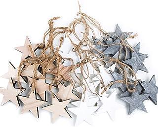 Logbuch-Verlag Weihnachts-ANHÄNGER SET: 30 Holz-Sterne Weihnachtssterne shabby vintage in grau weiß  natur braun ca. 7 cm je 10 Stück Baumschmuck Christbaumschmuck - Weihnachtsdeko zum Aufhängen