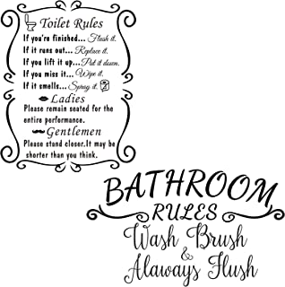 2 Pieces Bathroom Rule Home Stickers Toilet Rules Bathroom Decals Wall Art Quote Saying Stickers Acrylic Word Quote Wall A...