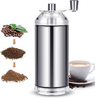 コーヒーミル コーヒーグラインダー 手挽きコーヒーミル 水洗い可能 掃除簡単 手動 粗さ調節可能 コンパクト 収納袋・ブラシ付き 可格納式ハンドル 持ち便利