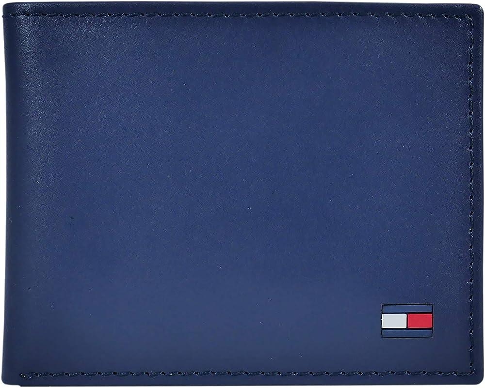 Tommy hilfiger, portafoglio con portacarte per uomo,in pelle