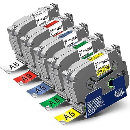 Lot de 5 couleurs B41 441 541 641 741 NEOUZA Lot de 5 cartouches de ruban adh/ésif lamin/é pour Brother P-Touch Tze TZ 18 mm 3//4