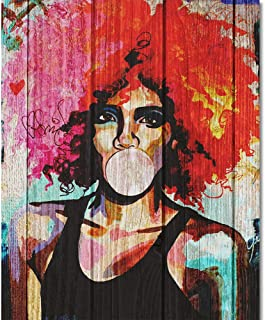 TUMOVO Paint by Numbers for Adults Beginner, DIY Paint by Numbers Lady with Paintbrushes, Acrylic Pigment - African American Woman with Pink Gum - 16x20 inch (Frameless)
