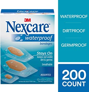 Nexcare Waterproof Clear Bandages, Tough, Made by 3M, Assorted Sizes, 200 Count